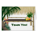 Tropical Party Tiki Hut Thank You Note Stationery Note Card