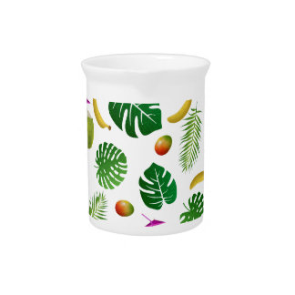 Tropical pattern beverage pitcher