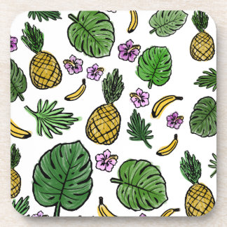 Tropical pattern drink coaster