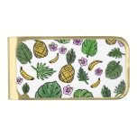 Tropical pattern gold finish money clip