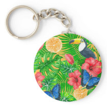 Tropical pattern keychain