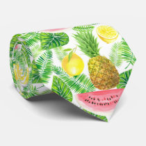 Tropical pattern neck tie