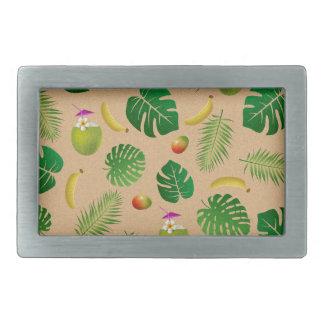 Tropical pattern rectangular belt buckle
