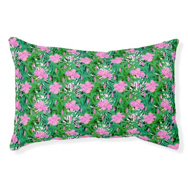 Beach Themed Tropical Pattern With Jungle Flowers Pet Bed