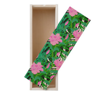 Tropical Pattern With Jungle Flowers Wooden Keepsake Box