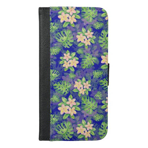 tropical pattern with monstera and plumeria iPhone 6/6s plus wallet case