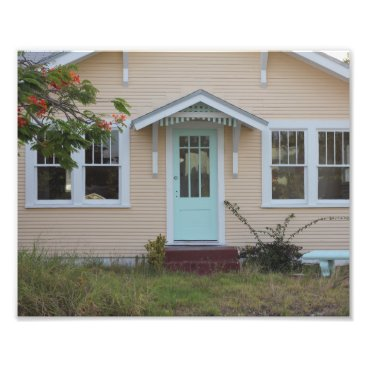 Beach Themed Tropical Peach & Aqua Beach House Photo Print