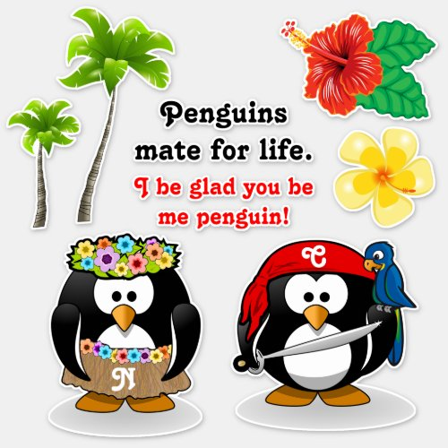 Tropical Penguins Couple Hula Pirate Coconut Trees Sticker