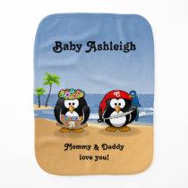 Tropical Penguins Couple Hula Pirate Island Beach Baby Burp Cloth