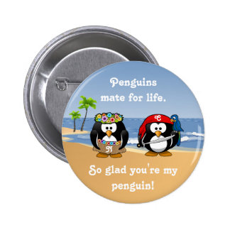 Tropical Penguins Couple Hula Pirate Island Beach Pins