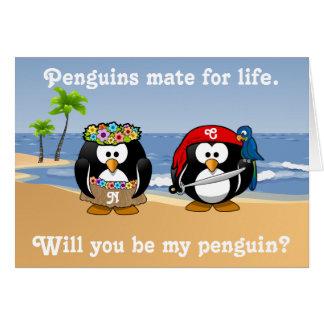Tropical Penguins Couple Hula Pirate Island Beach Card