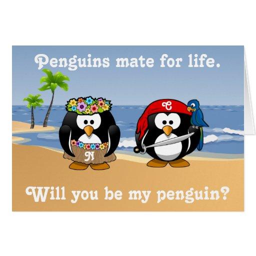 Tropical Penguins Couple Hula Pirate Island Beach Greeting Cards