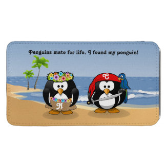 Tropical Penguins Couple Hula Pirate Island Beach Galaxy S5 Pouch