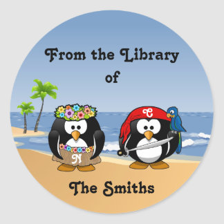 Tropical Penguins Couple Hula Pirate Island Beach Classic Round Sticker