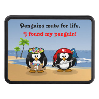Tropical Penguins Couple Hula Pirate Island Beach Hitch Cover