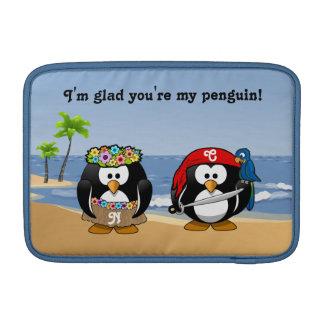 Tropical Penguins Couple Hula Pirate Island Beach Sleeves For MacBook Air