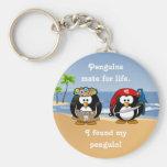 Tropical Penguins Couple Hula Pirate Island Beach Basic Round Button Keychain
