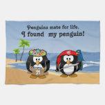 Tropical Penguins Couple Hula Pirate Island Beach Hand Towel