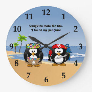 Tropical Penguins Couple Hula Pirate Island Beach Large Clock