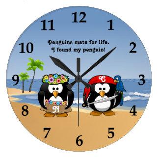 Tropical Penguins Couple Hula Pirate Island Beach Large Clock