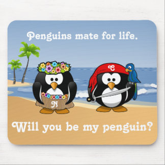 Tropical Penguins Couple Hula Pirate Island Beach Mouse Pad