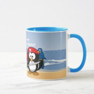Tropical Penguins Couple Hula Pirate Island Beach Mug