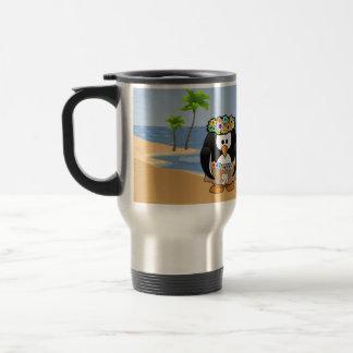 Tropical Penguins Couple Hula Pirate Island Beach Coffee Mug