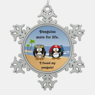Tropical Penguins Couple Hula Pirate Island Beach Ornament