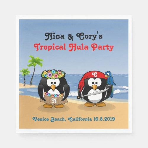 Tropical Penguins Couple Hula Pirate Island Beach Paper Napkin