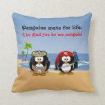 Tropical Penguins Couple Hula Pirate Island Beach Pillows