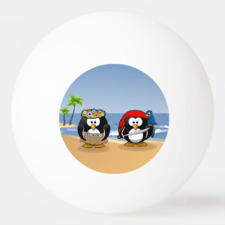 Tropical Penguins Couple Hula Pirate Island Beach Ping-Pong Ball