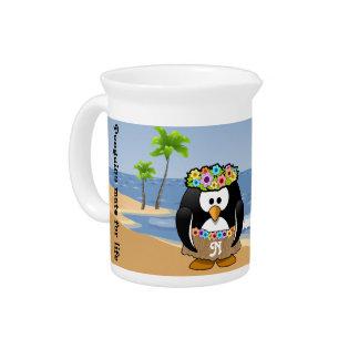 Tropical Penguins Couple Hula Pirate Island Beach Drink Pitchers