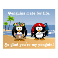 Tropical Penguins Couple Hula Pirate Island Beach Post Cards