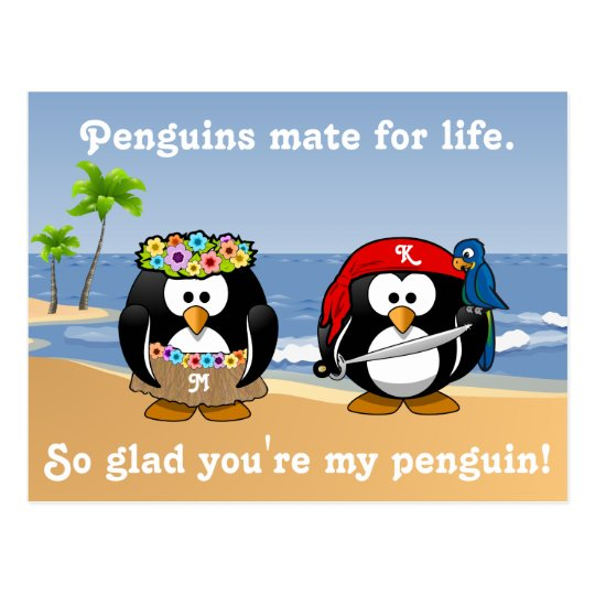 Tropical Penguins Couple Hula Pirate Island Beach Postcard