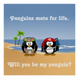 Tropical Penguins Couple Hula Pirate Island Beach Posters