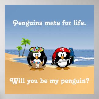 Tropical Penguins Couple Hula Pirate Island Beach Poster