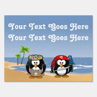Tropical Penguins Couple Hula Pirate Island Beach Sign