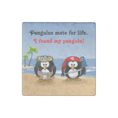 Tropical Penguins Couple Hula Pirate Island Beach Stone Magnet at Zazzle