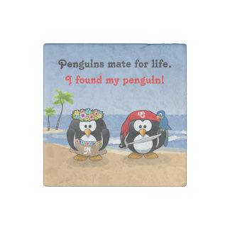 Tropical Penguins Couple Hula Pirate Island Beach Stone Magnet