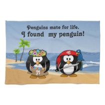 Tropical Penguins Couple Hula Pirate Island Beach Towel