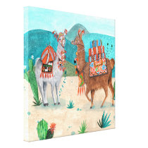 Tropical Peru Llamas Illustration | Canvas