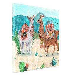 Tropical Peru Llamas Illustration | Canvas