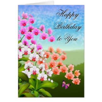 Tropical Phalaenopsis Orchid Flowers Birthday Card