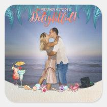 Tropical Photo | Watercolor Accents & Beach Scene Square Sticker
