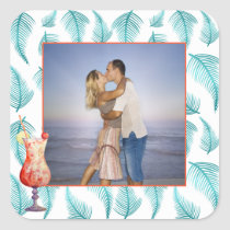 Tropical Photo | Watercolor Palm Tree Accent Square Sticker