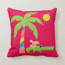 Tropical pillow with Alligator, Flamingo, Toucan