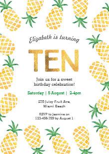 10th birthday invitations zazzle tropical pineapple 10th birthday invitation filmwisefo