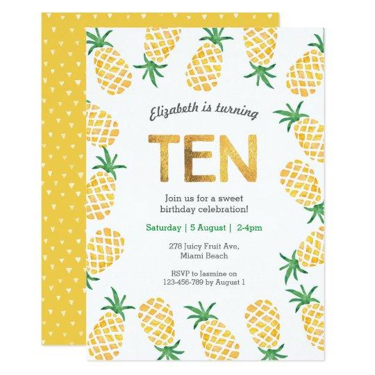 tropical pineapple 10th birthday invitation zazzle com