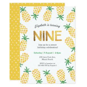 Tropical Pineapple 9th Birthday Invitation