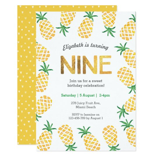 Tropical Pineapple 9th Birthday Invitation